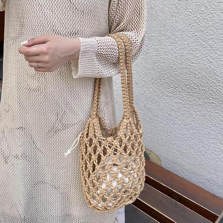 ロープ編み巾着付きかごバッグ【211-9050】