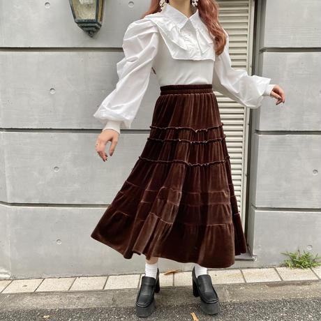 ベロアクラシカルティアードスカート【202-4007/4016】