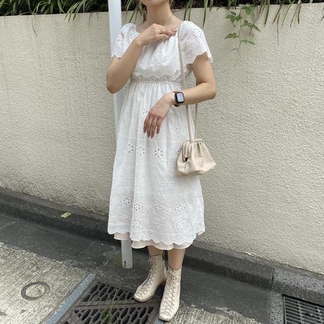 コットン花柄オフショルワンピース【191-6060】