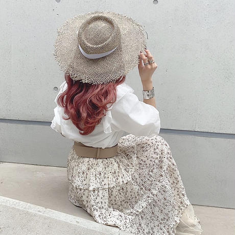 リボンフリンジ麦わら帽子【201-9083】
