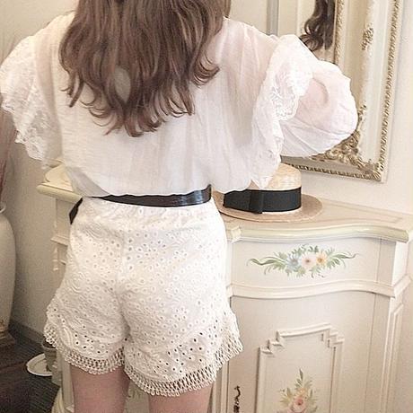 花刺繍コットンレースパンツ【191-5004】