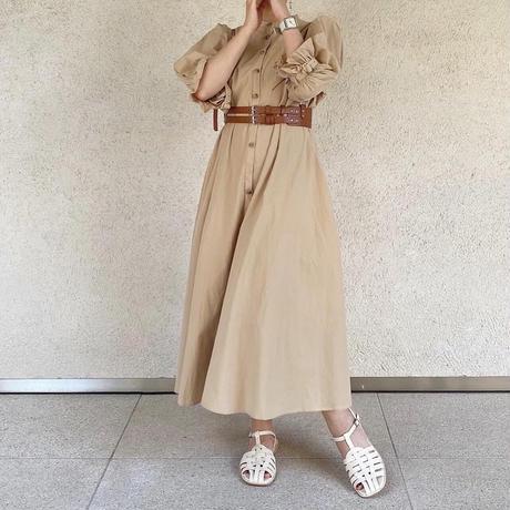 パフスリーブシャツワンピース3way(brown)【211-6019】