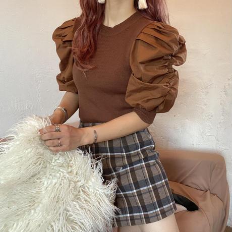 ブラウンチェック台形スカート【202-4001】