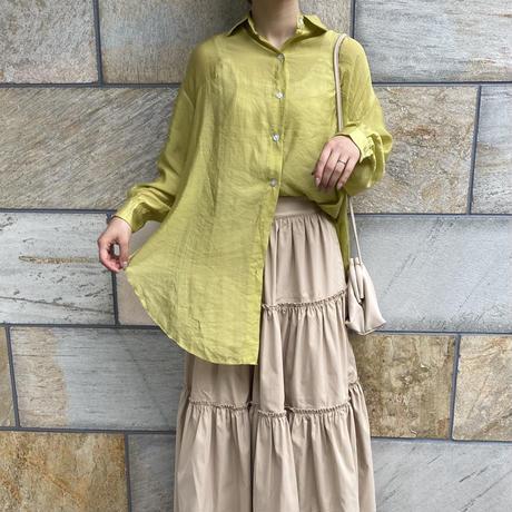 スリットグリーンシアーシャツ【201-1058】