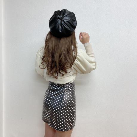ドットレザースカート