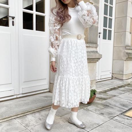 裾フリルレーススカート【201-4033】