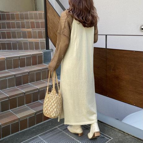 ニットロングキャミワンピース【211-6035】