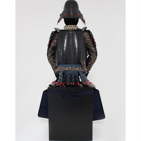 【O-054】紺赤糸威胸取黒桶側二枚胴具足・頭形兜(手時代塗)