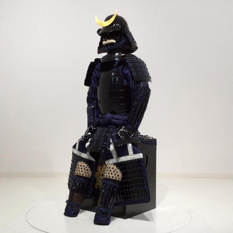 【O-065-1】●濃紺糸威黒桶側二枚胴具足