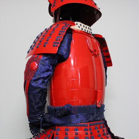 【O-061】●濃紺糸威赤桶側二枚胴具足