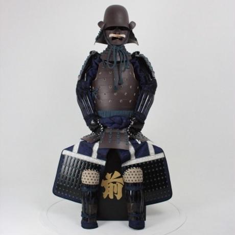【O-053】紺糸威鉄錆笠鋲二枚胴具足(頭形)