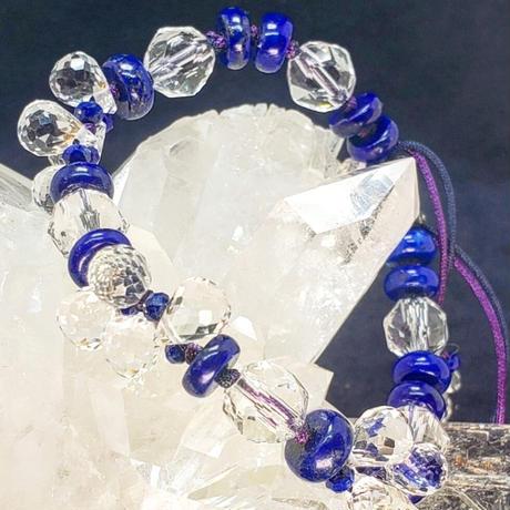 ラピスと水晶の組紐ブレスレット