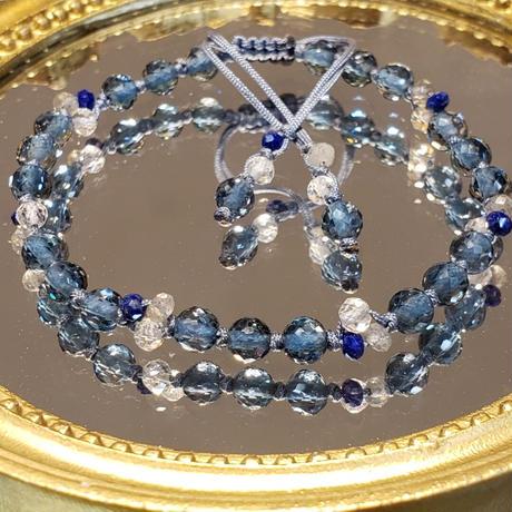 ロンドンブルートパーズ小粒の組紐ブレスレット 1