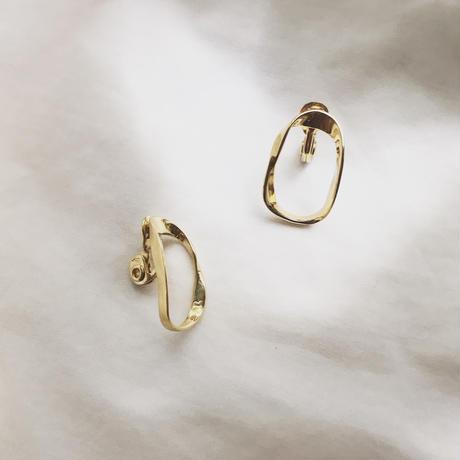 oval twisted earrings - clip-on earrings -