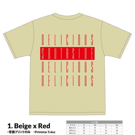 【予約受付】SOUTHSIDE DELICIOUS TeeShirt (1: Beige x Red)