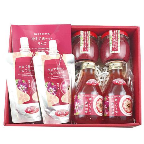 ●中まで赤〜いりんごジャム 瓶100g╳2 ●中まで赤〜いりんごジュース 小瓶180ml╳2 ●中まで赤〜いりんごジュース パウチ130ml╳2