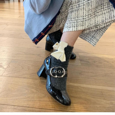 Ribbon wool socks-brown