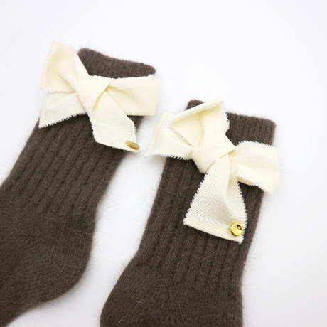 Ribbon wool socks-brown
