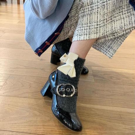 Ribbon wool socks-grey