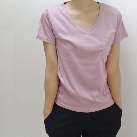 VネックウォッシャブルTシャツ(ピンク)