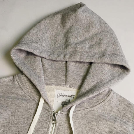 MIXED COTTON ZIP HOOD