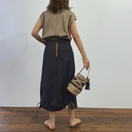 バックバルーンデニムスカート