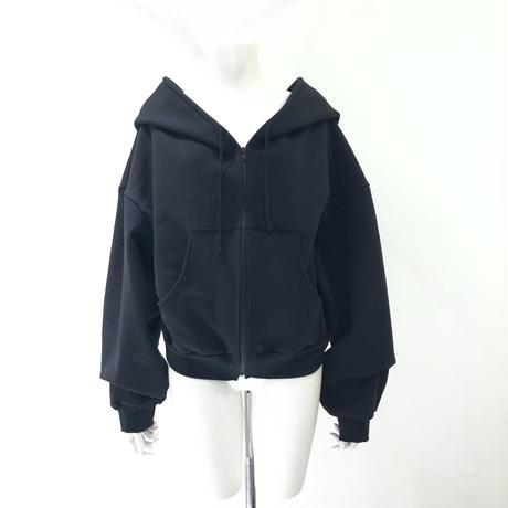 00○○ コットン裏起毛フォールパーカー BLACK ショート / 2012-10