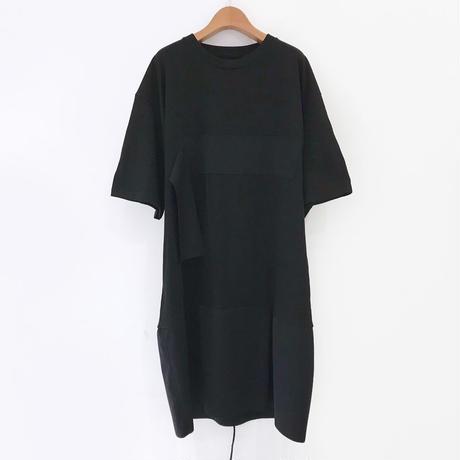 00○○ 切替えワンピース(ショートスカート タックver. ※男性着用可能) /1904-18 BLACK