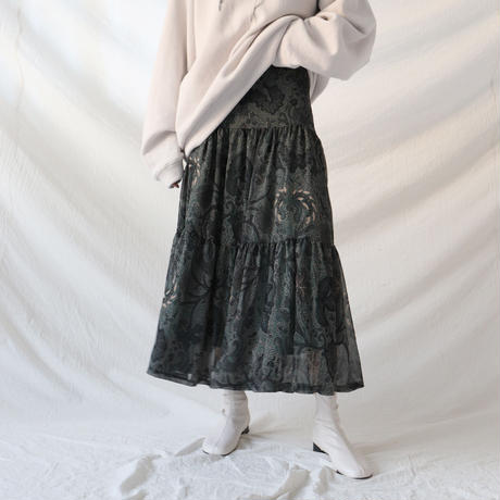 paisley gather flare skirt