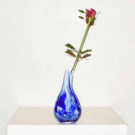 Drop marble flower vase(W10×H18)/BLUE