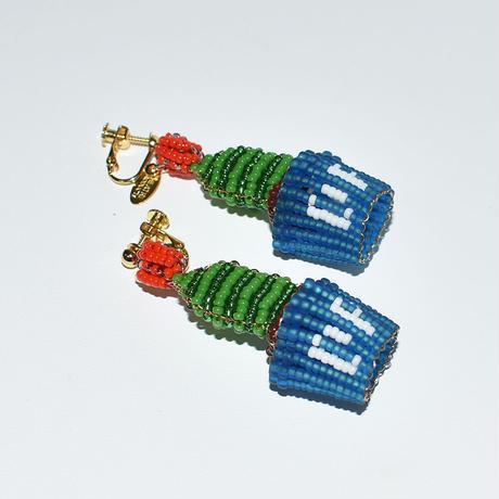 Beads Blue Pot Earring