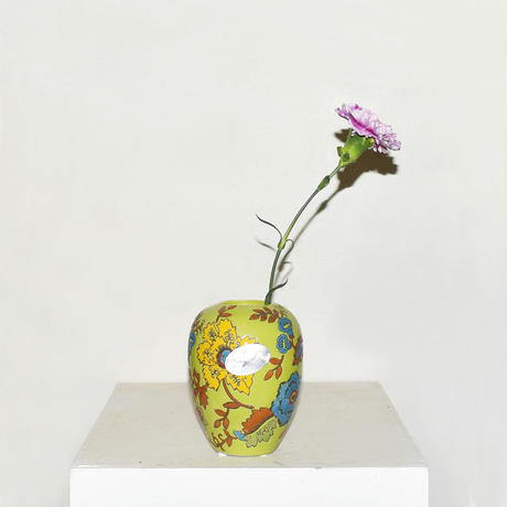 Flower Drawing Pottery Vase(W10×H13)/GREEN