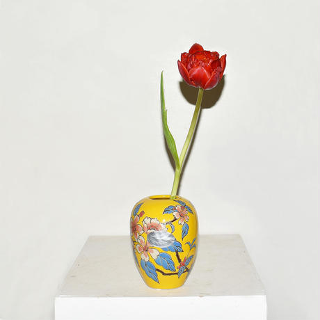Flower Drawing Pottery Vase(W10×H13)/YELLOW