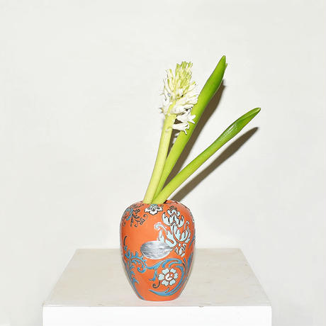 Flower Drawing Pottery Vase(W10×H13)/ORANGE