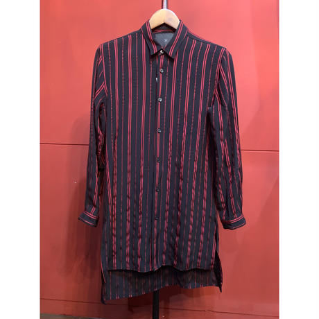 ys Yuji SUGENO/Dobby Stripe Short Collar Semi-Long Shirt