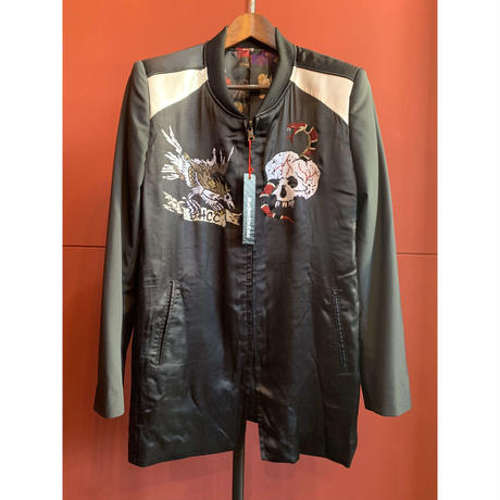 BLACK HONEY CHILI COOKIE/Skull Embroidery Satin Jacket