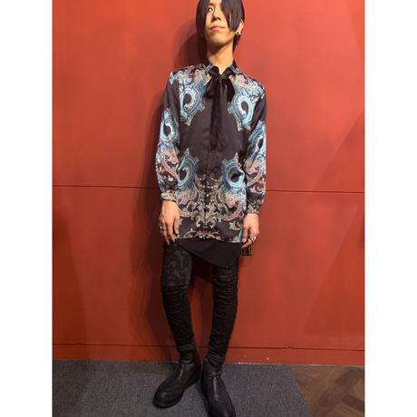 ys Yuji SUGENO/Panel Print Short Collar Semi-Long Shirt