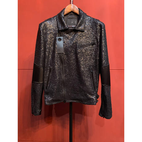 ys Yuji SUGENO/210830904 / Black Foil Tweed Double Riders Jacket