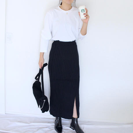 〔即納〕Rib knit long skirt(2color)