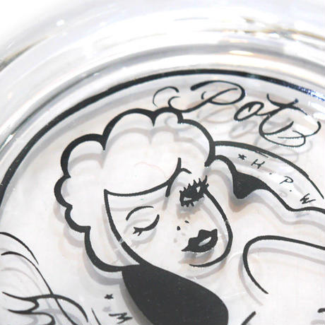 HT-G198006  / HONEY POT GLASS ASHTRAY ft 4D7S - CLEAR