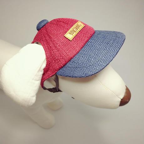 キャップ(小型犬用)レッド×ブルー