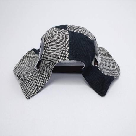 チューリップハット(中型犬用)グレンチェック×ブラック