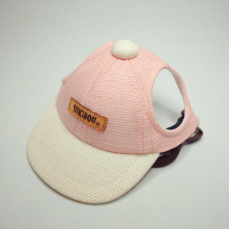 キャップ(小型犬用)淡ピンク×アイボリー