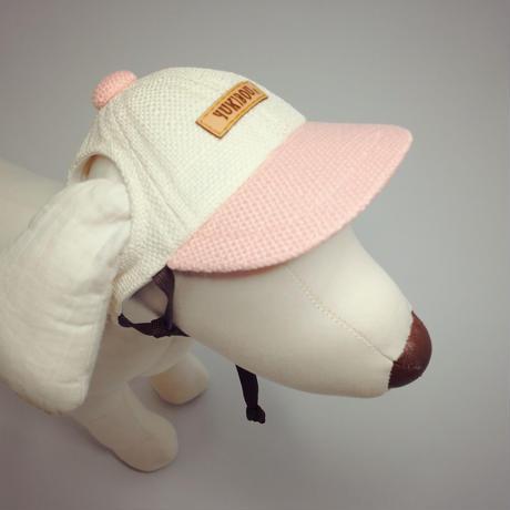 キャップ(小型犬用)アイボリー×淡ピンク