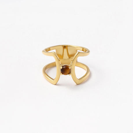 celosia ring / gold / tiger eye stone