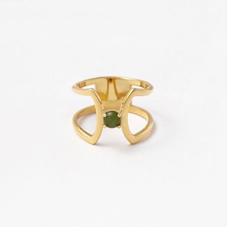 celosia ring / gold / nephrite