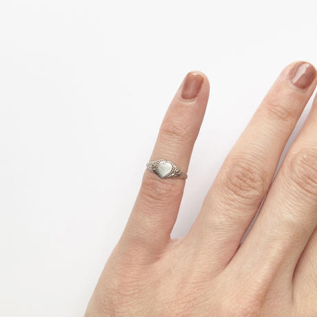 #1 silver heart signet ring