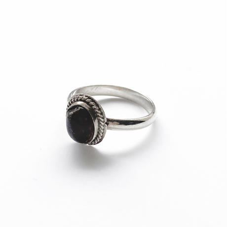 #12 silver amber flame ring