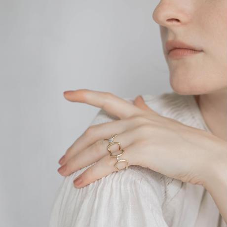 celosia ring / gold / malachite