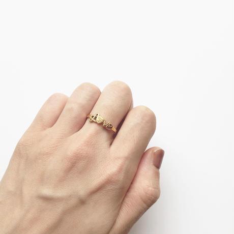 #16 18KGP love ring